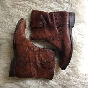Brown Leather Frye Booties Size 7
